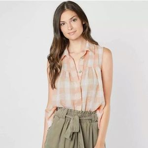 Free People Hey There Sunrise Button Down Blouse